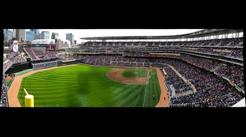 Target Field home opener 2012. Minnesota Twins vs. Los Angles Angels. View from left field.
