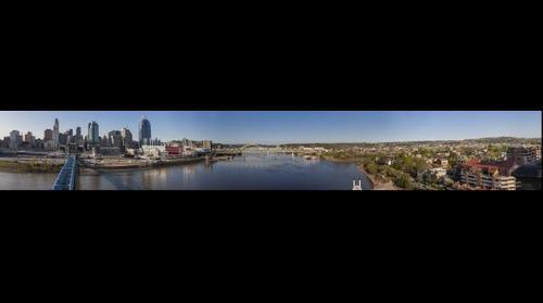 Cincinnati Skyline From John A. Roebling Suspension Bridge