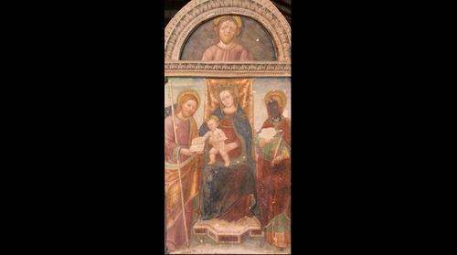 Affresco su colonna - Pieve di San Pietro a Volpedo (AL-Italy)