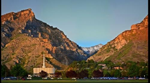 Provo, Utah LDS Temple at Sunset