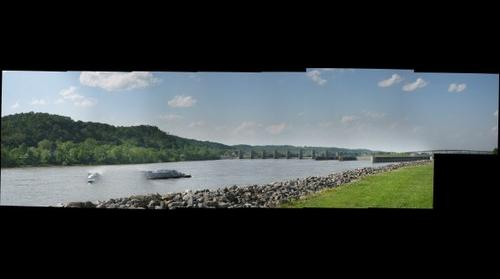 "Ohio River Lock and Dam with ""ghost"" Barge, Mason County WV"