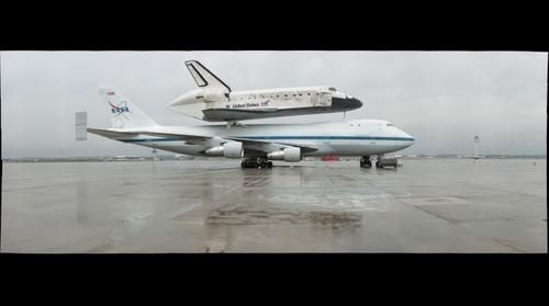 Space Shuttle Discovery Atop SCA at Dulles Airport (#1)