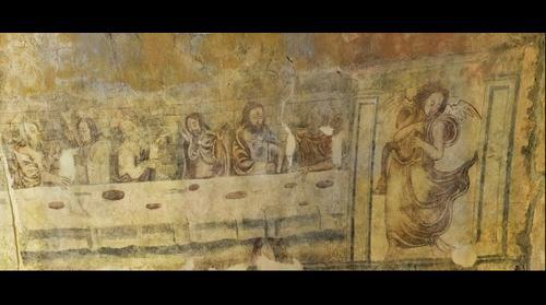 Pinturas muro norte Iglesia San Salvador de Moru (S.XIII) - Ribadesella, Asturias, España - 1 de 2