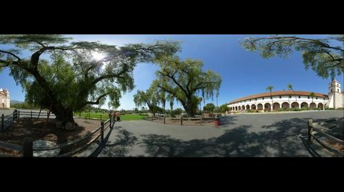 Santa Barbara Mission with Trees