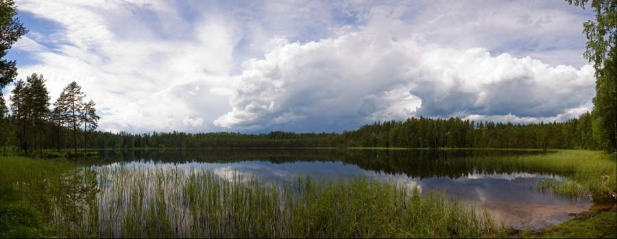 A storm approachin lake Pilezers (Duck lake). Latvia.