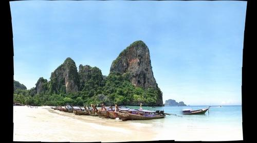 Thailand - Longtail Boats and Cliffs of Raleigh Beach