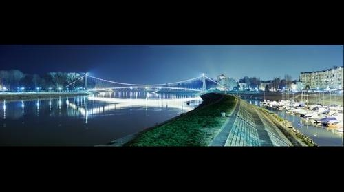 Osijek and Drava river at night