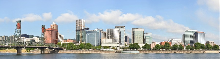 Portland from the East Bank of the Willamette River