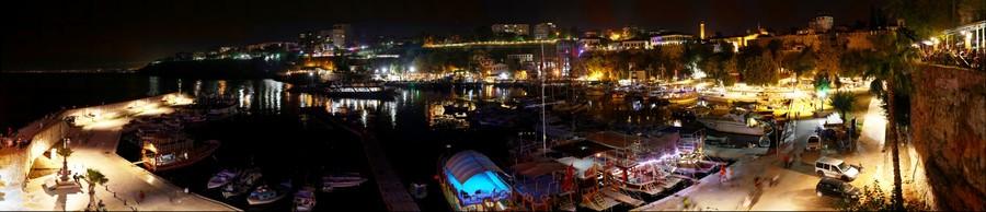 Gigapanorama Antalya old marine at nitgh Antalya Turkey, Antalya Yat limanı gece Antalya Türkiye