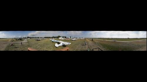 Panorama of Airventure Aircraft Parking from Photographer's tower