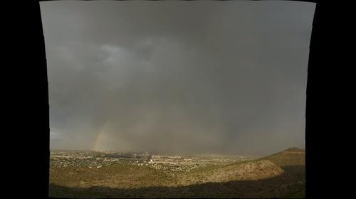 Rainbow, Dust Storm and Monsoon Rain over Tucson