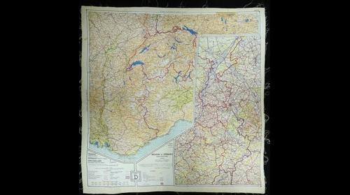 WWII Silk  Pilot Map