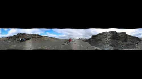 360 View from inside a Volcanic Spatter Cone, South Iceland, Iceland