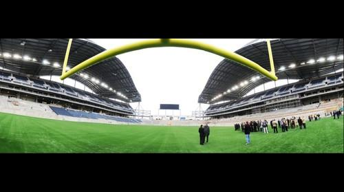 North Endzone View: Investors Group Field Turf & Goal Post Installation