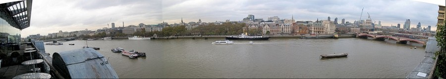 North Bank of the Thames River, London, from the OXO Tower observation deck