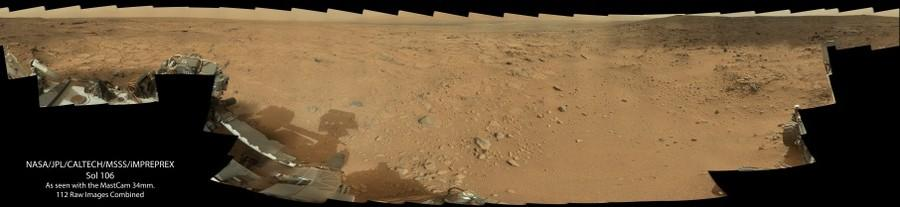 Sol 106 as seen by the Curiosity Rover (MastCam 34mm.)