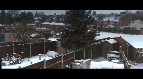 back garden snow pano