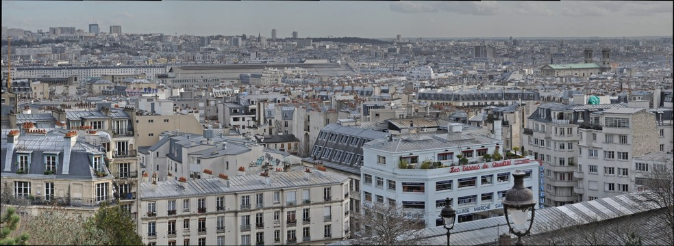 Paris city seen from Sacre ceur view point montmartre