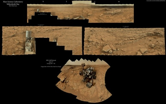 MSL - Super GigaPan - Yellowknife Bay (Both MastCams) with rover self portrait