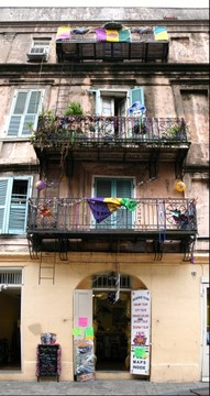 Mardi Gras balcony in the French Quarter, New Orleans, Louisiana
