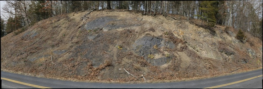 Outcrop at the intersection of Fort Valley Road and Ramsey Road, Fort Valley, Virginia