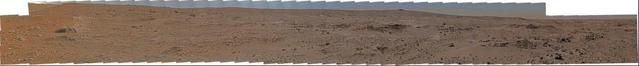 "MSL Curiosity Mastcam 100 medium-far field ""Rocknest"" panorama of MSL looking westward Sol 67-75 afternoon-evening"