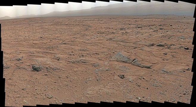 MSL Curiosity Mastcam 100 medium-far field - approaching Yellowknife Bay southeasterly view Sol107-116 morning