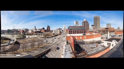 Skyline of Rochester, NY from the Capron Lofts roof.