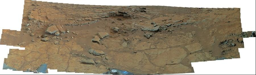 MSL Curiosity Mastcam 100 near field super-panorama of Yellowknife Bay area, Gale Crater