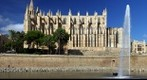 Palma de Mallorca Cathedral with Fountain from Parc de la mar, Mallorca, Spain