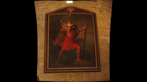 St Christopher painting in Barga Duomo