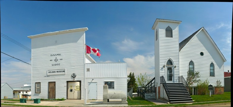 Museum and church, Holden, Alberta