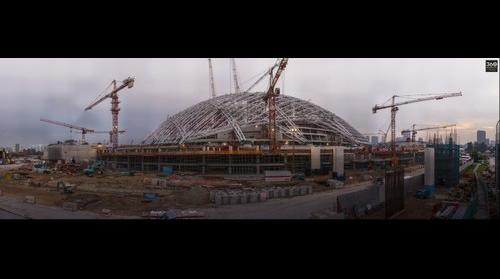 Construction of the new Singapore National Stadium