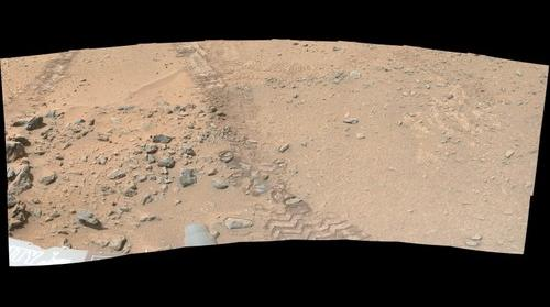 Curiosity 0325 false color panorama in Gale Crater, Mars