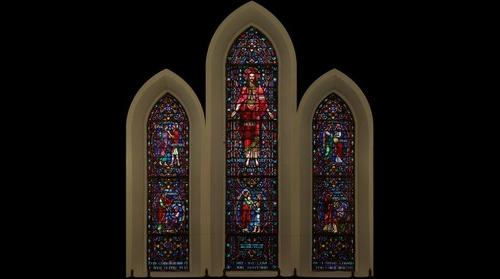 Stained Glass Window in Harrisonburg, VA United Church of Christ in Apse Region of Sanctuary