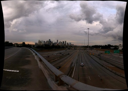 Chenevert St. Exit overpasses Southwest Freeway U.S. Route 59 and South Freeway TX SH 288 in Houston, Texas, U.S.A. 9-7-13