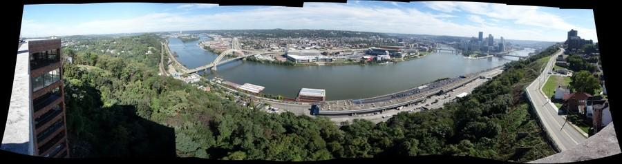 Pittsburgh from Mount Washington Rooftop, three rivers view