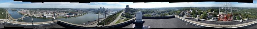 Pittsburgh from Mount Washington Rooftop, 360 degree view