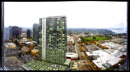 Lunch time birds eye view of part of downtown Bellevue, WA
