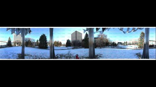 Panorama of University from under the chrome chicken with  no lid