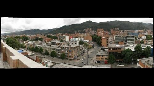 View of the mountains and streets around Bogota