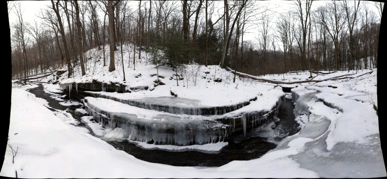 Gorge with icicles at Hell's Hollow, McConnell's Mill State Park