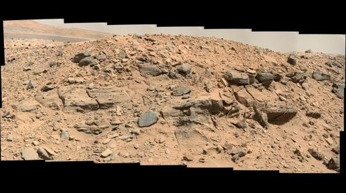 Curiosity sol 0529 false color panorama of Dingo Gap in Gale Crater, Mars