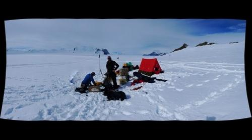 Feargal Buckley and Dave Barbeau in the LeMay Ranges, Alexander Island, Antarctica