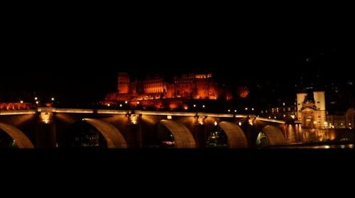 Heidelberger Schloss und Alte Brück bei Nacht - Heidelberg Castle and 'Old Bridge' at Night