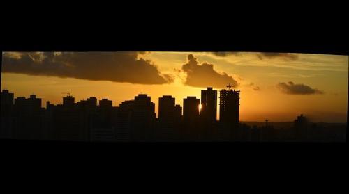 Gigafoto do por do sol, no Recife