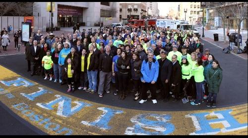 Group photo at the Boston Marathon finish line