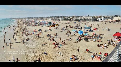 Hermosa Beach California Coastline July 4, 2013 Holiday Crowd