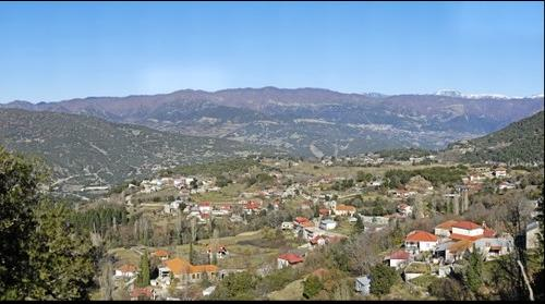 General panoramic view of the village of Megalo Peristeri