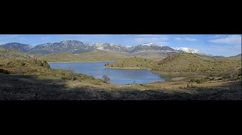 Panoramic landscape of the Aoos' spring Lake